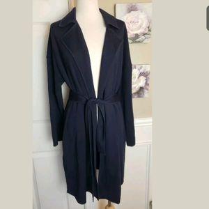 St John Blue Long Open Tie Belt Cardigan Jacket M